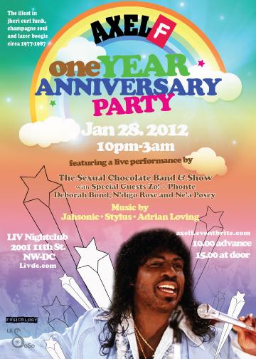 Axel F Anniversary Party: Jheri Curl Funk, Champagne Soul & Lazer Boogie
