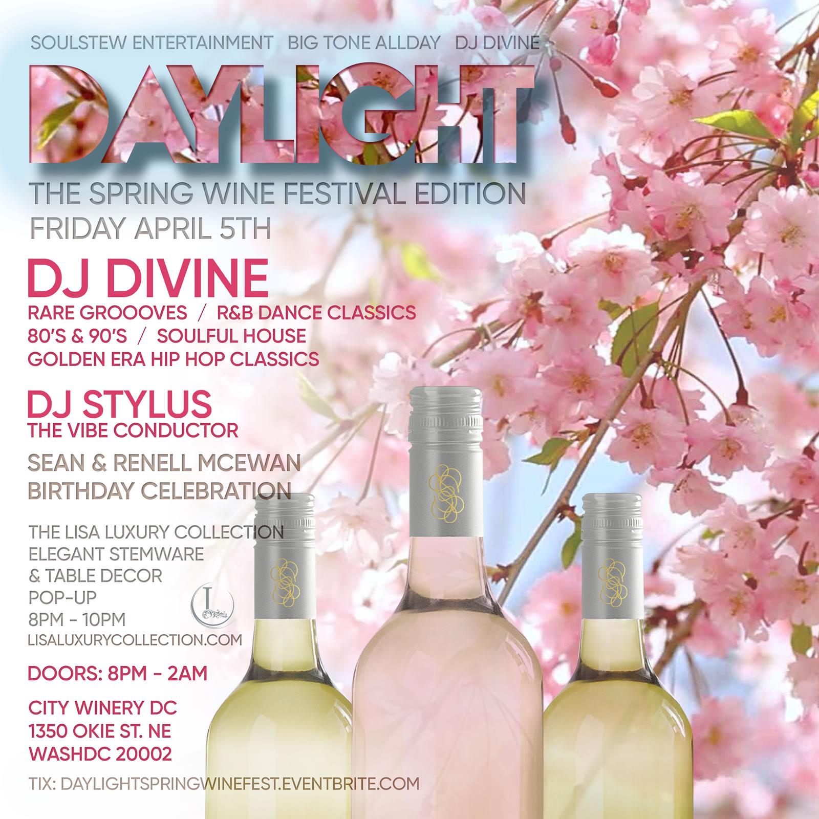 Daylight Spring Wine Flight Fest, Fri. 4/5