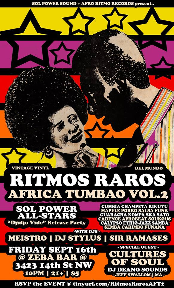 "Ritmos Raros: Africa Tumbao Vol.2: Sol Power All-Stars ""Djidjo Vide"" Release Party feat Cultures of Soul & Sir Ramases"