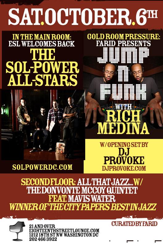 Sol Power vs. Jump N Funk at Eighteenth Street Lounge, Sat. 10/6/12